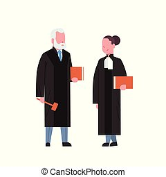 judge woman man couple court workers in judicial robe...