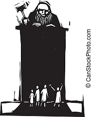Judge - Woodcut style judge sitting atop his bench with...