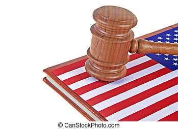 Judge wooden gavel and legal book with usa flag, white background