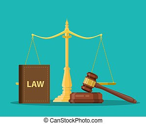 Judge wooden gavel with law book and golden scales. Justice...