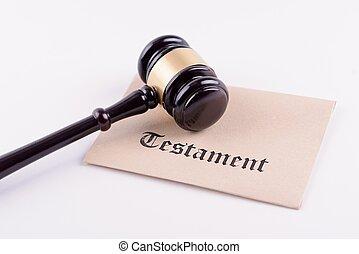 Judge's gavel - the symbol of law on testament
