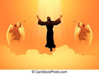 Biblical silhouette illustration series, the ascension day of Jesus Christ, the judgement day theme