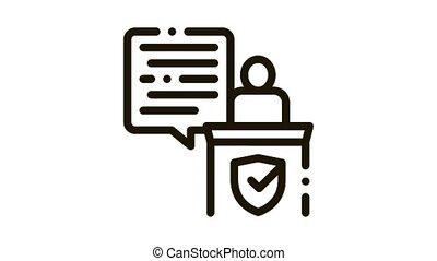 Judgement Document Law animated black icon on white background