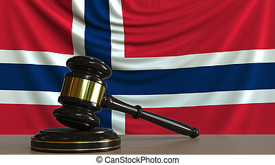 Judge's gavel and block against the flag of Norway. Norwegian court conceptual 3D rendering