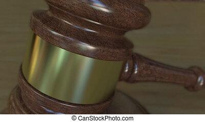 Judge's gavel and block with LITIGATION  inscription. 4K clip