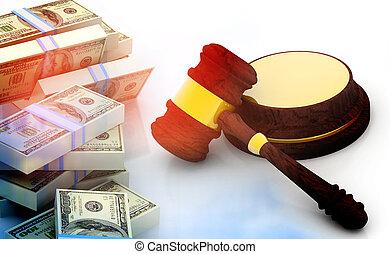 Judges Gavel And Dollar Cash