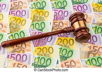 judges gavel and euro banknotes