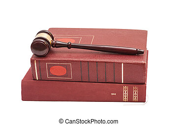 Judge's gavel and legal books on white background