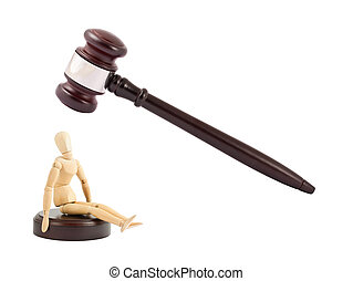 Judges gavel and wooden mannequin