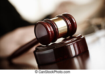 Judges Gavel - justice concept, selective focus on nearest...