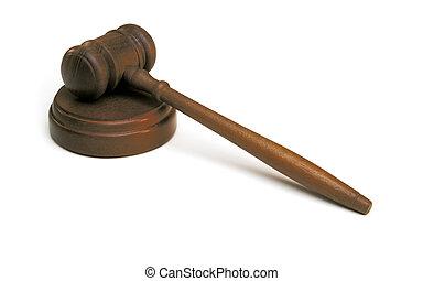judge\'s, gavel, na białym