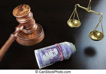 Judges Gavel, Scale Of Justice And British Cash On Table -...