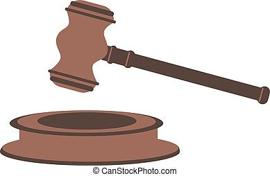 Judge's gavel. Vector illustration isolated on white background.