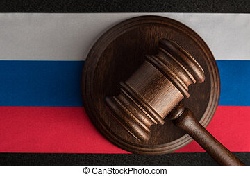 Judges hammer and flag of Russian Federation. Law and Justice. Constitutional law.