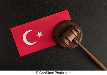 judges hammer and flag of Turkey. Law and Justice concept. Constitutional law.