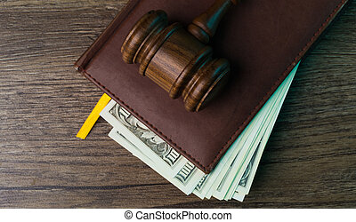 Judge's hammer, folder with dollars
