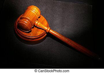 judge\'s, jogi, árverezői kalapács, képben látható, egy, törvénykönyv
