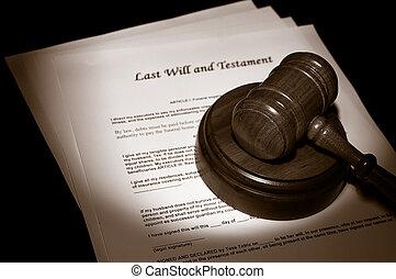 judge\'s, légal, marteau, sur, dernières volontés, documents
