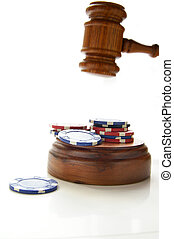 judges law gavel and poker chips, on white