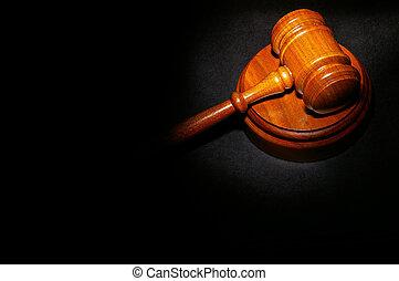 judge\'s, lovlig, gavel, på, en, juridisk bog