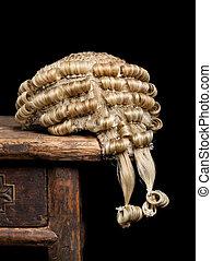Judge's wig closeup - Closeup of a genuine judge's wig on an...