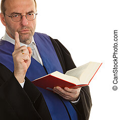 Judges with Code and Justice - A judge with a law book in...