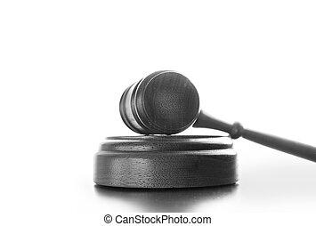 Judges wooden gavel isolated on white background