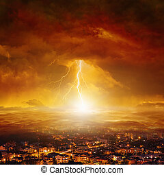 Judgment day, end of world - Apocalyptic background -...