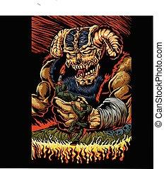 judgment of the devil. vector illustration.