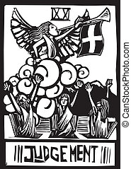 Judgment Tarot - Woodcut expressionist style image for the...