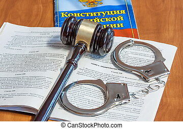 judiciaire, codes, lois, menottes, marteau