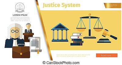 judiciaire, concept, système, coloré