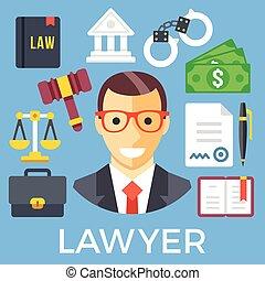 judiciaire, ensemble, système, avocat, icône