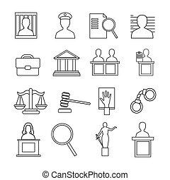judiciaire, ensemble, système, icône