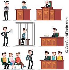 judiciaire, ensemble, système, icônes