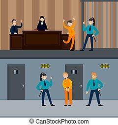 judiciaire, horizontal, système, bannières