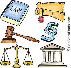 judiciaire, illustration, icônes