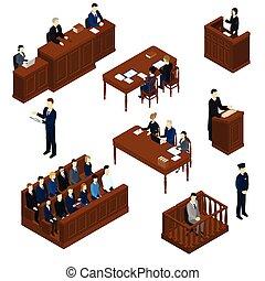 judiciaire, isométrique, ensemble, système, gens