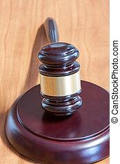 judiciaire, marteau, sur, a, table bois