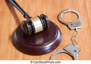 judiciaire, menottes, marteau
