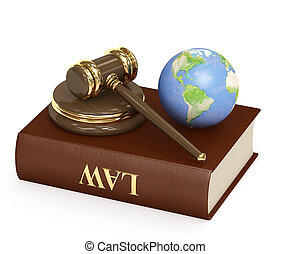 Judicial 3d gavel and Earth. Objects over white
