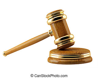 Symbol of justice - judicial 3d gavel. Object isolated over white