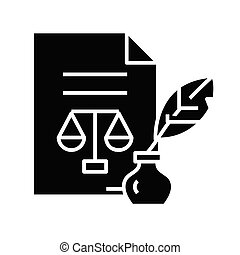Judicial document black icon, concept illustration, vector flat symbol, glyph sign.