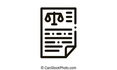Judicial Document Law And Judgement animated black icon on white background