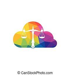 judicial, justicia, ley, logotipo, balance, simbólico, escala, vector, pluma, nib.