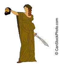 Judith and Holofermes in the history - Judith holding up the...