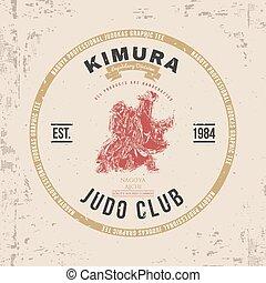 Judo Club T-shirt Print Design. Vector