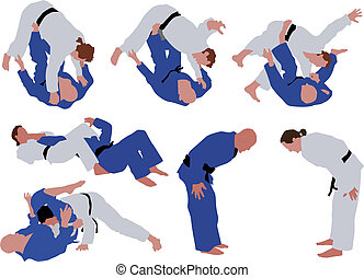 Judo - Over ten man silhouettes during judo competition....