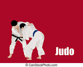 Judo action fighters background, vector illustration