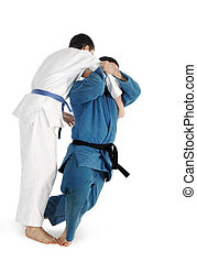 Judo fighting competition on the white background